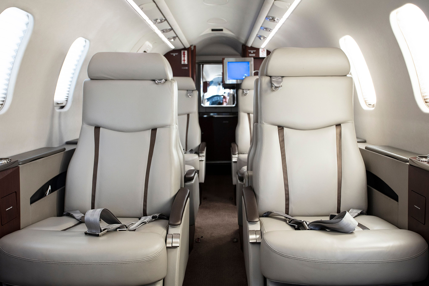 Private lavatory and room for a 9th belted passenger in BTR Air Charter's Lear 45