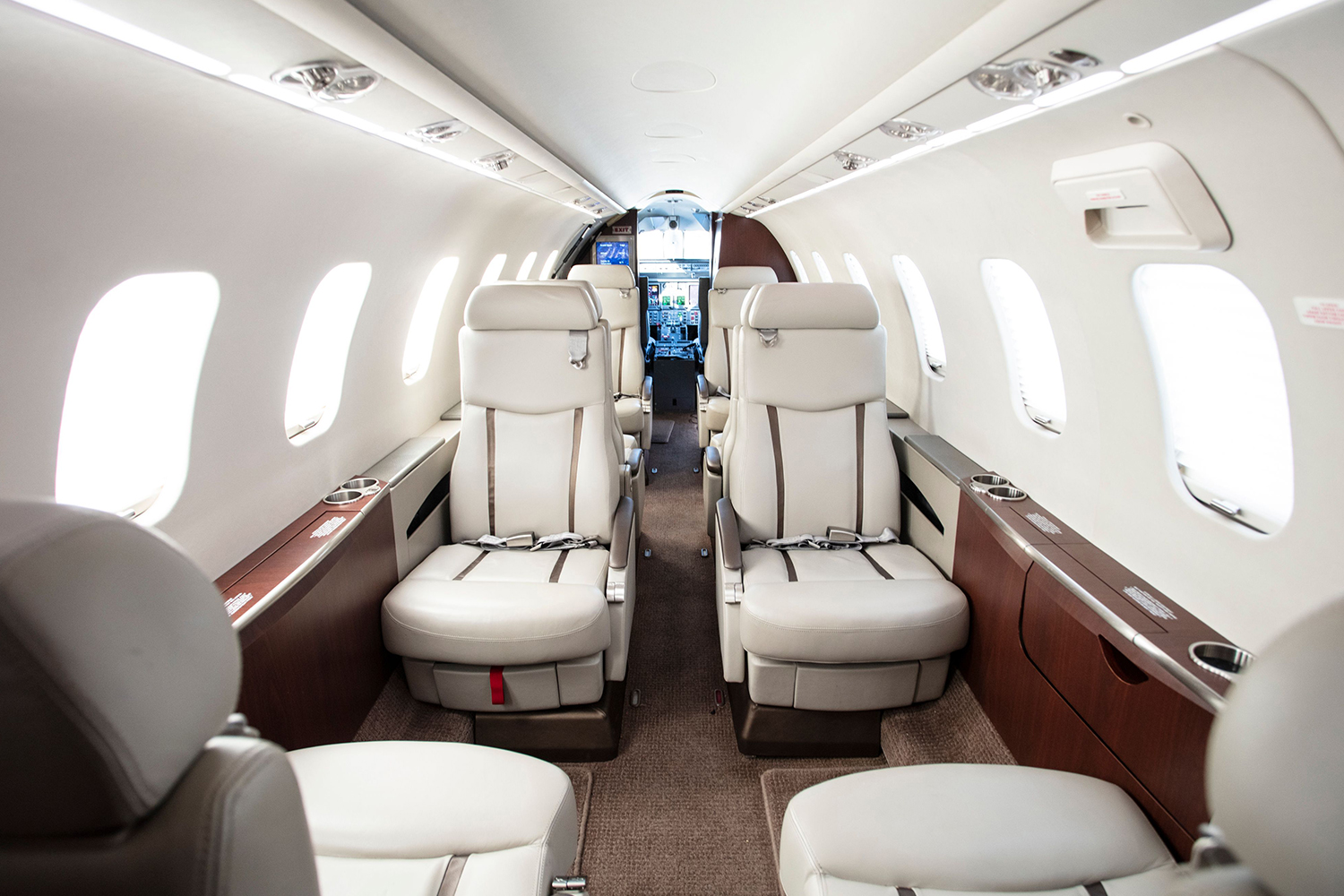 Double club seating in BTR Air Charter's Lear 45