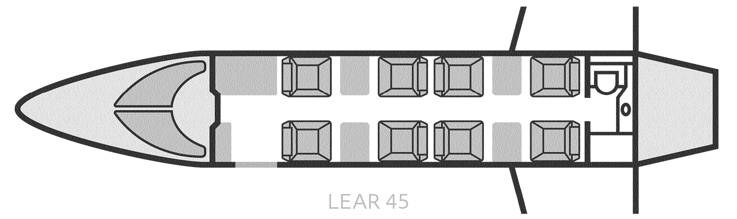 Lear 45 Seating Layout - Baton Rouge Air Charter