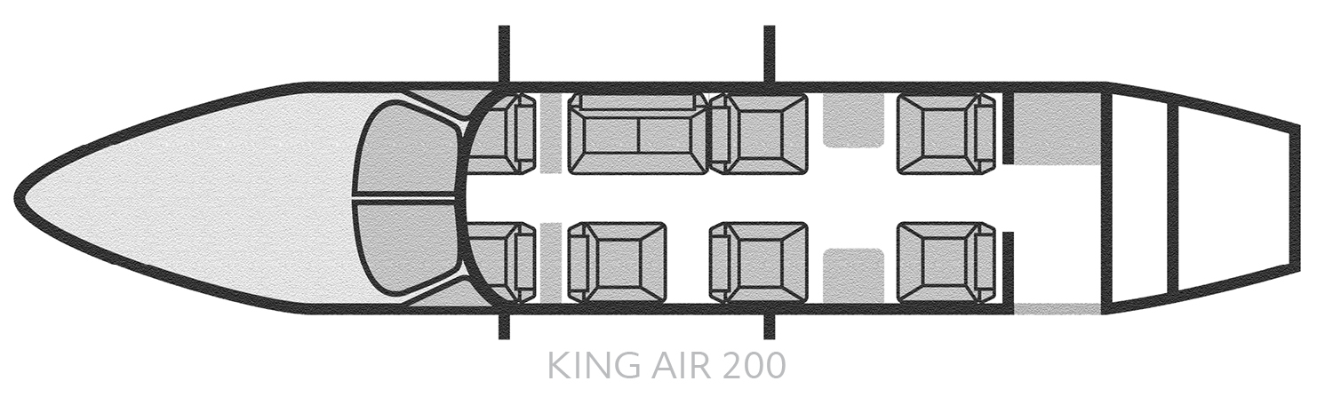 King Air 200 - BE200 Air Charter Seating Layout - Baton Rouge Air Charter Flights